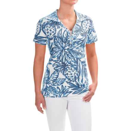Caribbean Joe Printed and Textured Polo Shirt - Short Sleeve (For Women) in Moonlight Blue - Closeouts