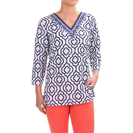 Caribbean Joe Printed Batiste Tunic Shirt - V-Neck, 3/4 Sleeve (For Women) in High Seas - Closeouts