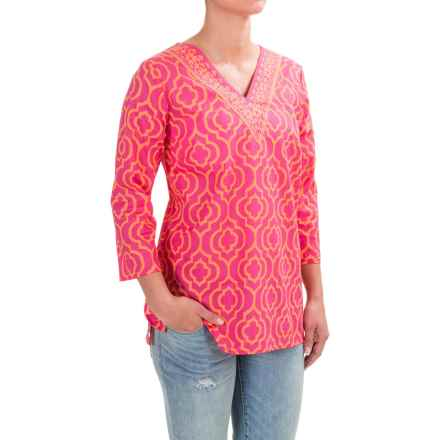 Caribbean Joe Printed Batiste Tunic Shirt - V-Neck, 3/4 Sleeve (For Women) in Shocking Fuschia - Closeouts