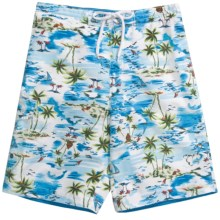Caribbean Joe Printed Cargo Board Shorts (For Men) in Blue - Closeouts