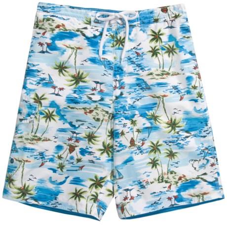 Caribbean Joe Printed Cargo Board Shorts (For Men) in Blue