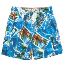 Caribbean Joe Printed Cargo Swim Trunks (For Men) in Blue - Closeouts