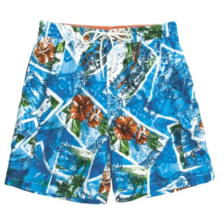 Caribbean Joe Printed Cargo Swim Trunks (For Men) in Sienna