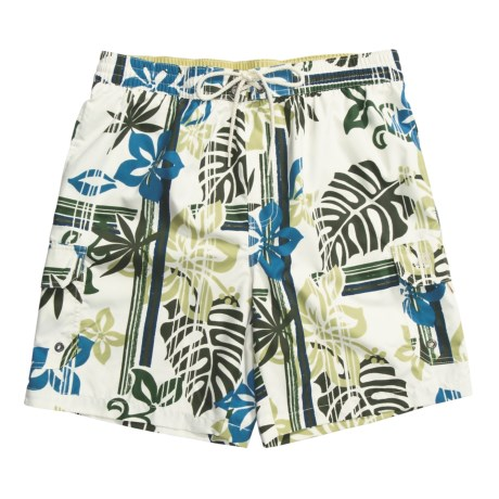 Caribbean Joe Printed Cargo Swim Trunks (For Men) in Blue
