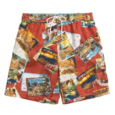 Caribbean Joe Printed Cargo Swim Trunks (For Men) in Sienna