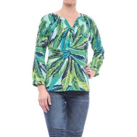 Caribbean Joe Printed Crepe Tunic Shirt - Long Sleeve (For Women) in Palawan Aqua - Closeouts