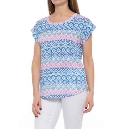 Caribbean Joe Printed Dolman Shirt - Short Sleeve (For Women) in Turquoise Reef - Closeouts