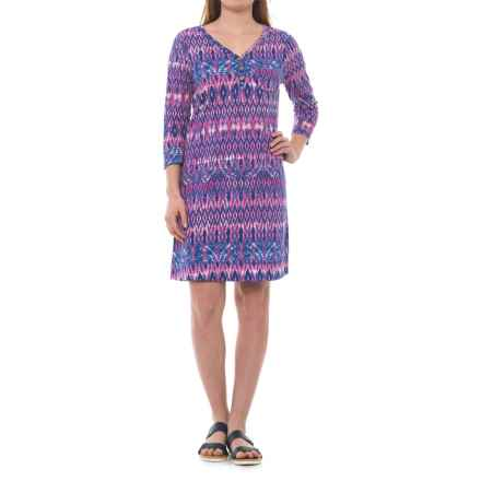 Caribbean Joe Printed Slub Henley Dress - 3/4 Sleeve (For Women) in Mimi Pink - Closeouts