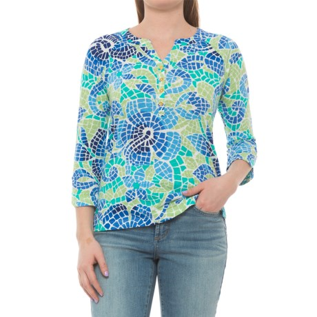 Caribbean Joe Printed Slub Henley Shirt - 3/4 Sleeve (For Women) in Blue Lotus