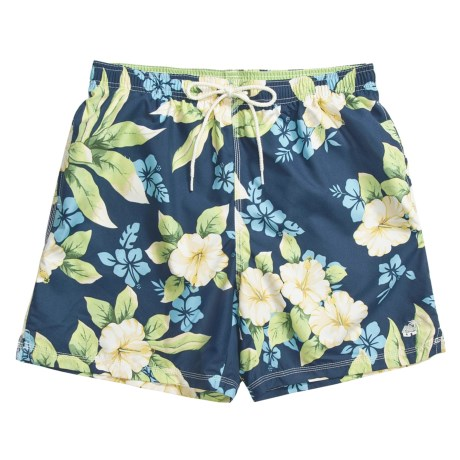Caribbean Joe Printed Swim Trunks (For Men) in Dark Blue