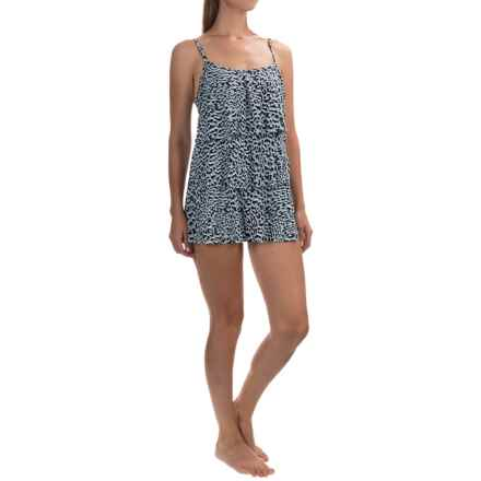 Caribbean Joe Printed Tiered Swim Dress (For Women) in Chameleon Black - Closeouts