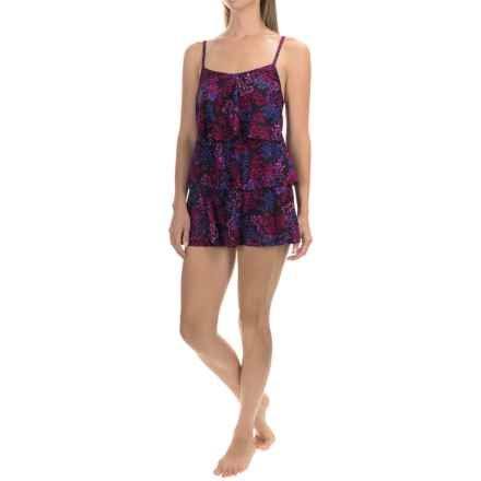 Caribbean Joe Printed Tiered Swim Dress (For Women) in Leafy Vine Black - Closeouts