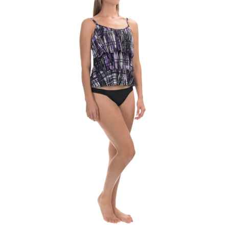 Caribbean Joe Printed Tiered Tankini Top (For Women) in Friction Black - Closeouts