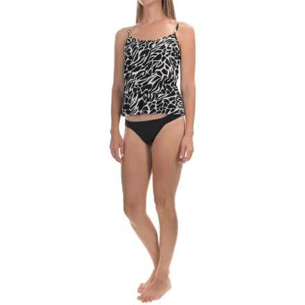 Caribbean Joe Printed Tiered Tankini Top (For Women) in Go Boldly Black - Closeouts
