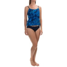 Caribbean Joe Printed Tiered Tankini Top (For Women) in Sea Fern Black - Closeouts