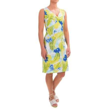 Caribbean Joe Printed V-Neck Dress - Sleeveless (For Women) in Skimboard Aqua - Closeouts