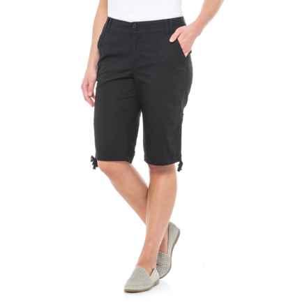 Caribbean Joe Ruched Poplin Skimmer Shorts (For Women) in Black - Closeouts