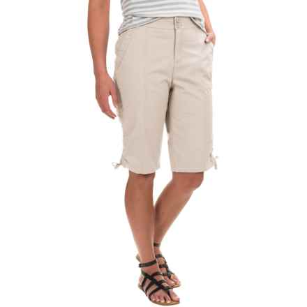Caribbean Joe Ruched Poplin Skimmer Shorts (For Women) in Sand - Closeouts