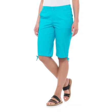 Caribbean Joe Ruched Poplin Skimmer Shorts (For Women) in Turquoise Reef - Closeouts