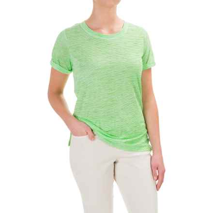 Caribbean Joe Scoop Neck T-Shirt - Short Sleeve (For Women) in Grass Court - Closeouts
