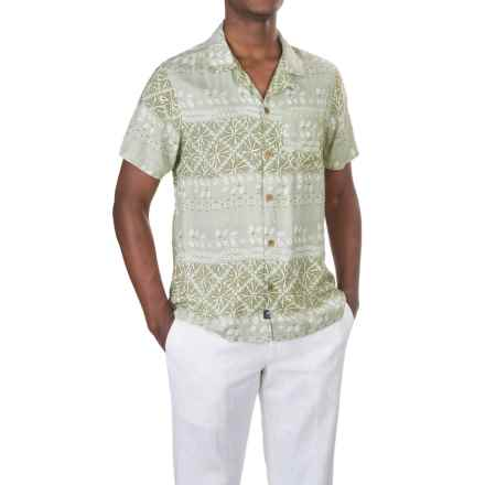 Caribbean Joe Shibori Stripe Camp Shirt - Short Sleeve (For Men) in Artichoke - Closeouts