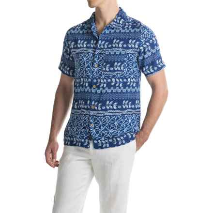 Caribbean Joe Shibori Stripe Camp Shirt - Short Sleeve (For Men) in Fresh Indigo - Closeouts