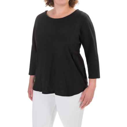 Caribbean Joe Slub Solid Shirt - 3/4 Sleeve (For Women) in Black - Closeouts