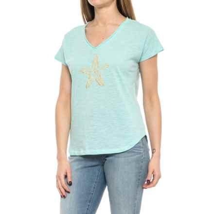 Caribbean Joe Starfish T-Shirt - Short Sleeve (For Women) in Aquis - Closeouts