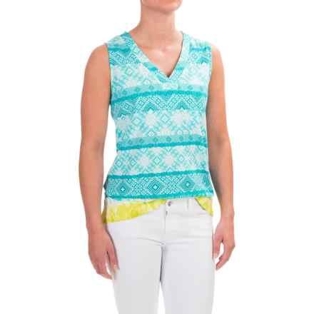 Caribbean Joe Stretch-Cotton Tank Top (For Women) in Skimboard Aqua - Closeouts