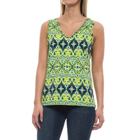 Caribbean Joe Sun Tribe Ikat Tank Top (For Women) in Island Lime