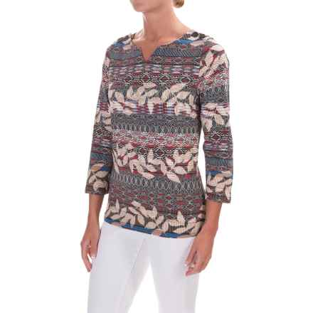 Caribbean Joe Sweetheart Leaf Geo Shirt - 3/4 Sleeve (For Women) in Coral Stick - Closeouts