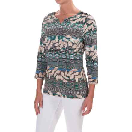 Caribbean Joe Sweetheart Leaf Geo Shirt - 3/4 Sleeve (For Women) in Moonstone Green - Closeouts