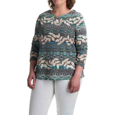 Caribbean Joe Sweetheart Leaf Geo Shirt - Stretch Cotton, 3/4 Sleeve (For Plus Women) in Moonstone Green - Closeouts