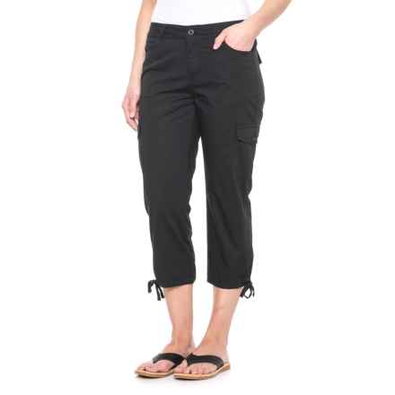 Caribbean Joe Tie-Leg Cargo Capris (For Women) in Black - Closeouts