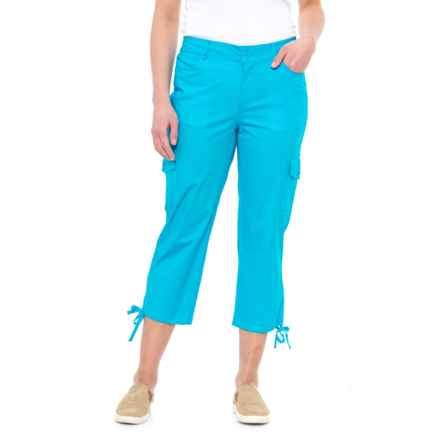 Caribbean Joe Tie-Leg Cargo Capris (For Women) in Turquoise Reef - Closeouts