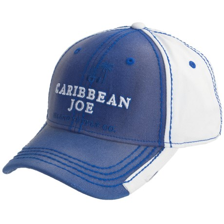 Caribbean Joe Two-Tone Baseball Cap - Cotton Twill (For Men and Women) in Blue/White