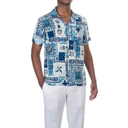 Caribbean Joe Waikiki Tiki Camp Shirt - Short Sleeve (For Men) in Bright Sky - Closeouts