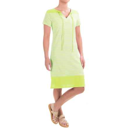 Caribbean Joe Yarn-Dyed Color-Block Jersey Dress - Short Sleeve (For Women) in Ice Lime - Closeouts