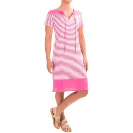 Caribbean Joe Yarn-Dyed Color-Block Jersey Dress - Short Sleeve (For Women) in Pink Panther - Closeouts