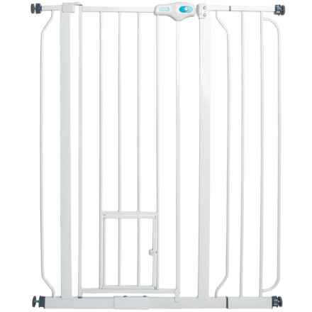 carlson pet products extratall expandable pet gate with small pet door in white