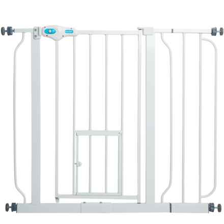 carlson pet products extrawide expandable pet gate with small pet door in white