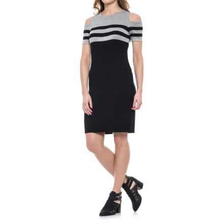 Carmen Marc Valvo Carmen by  Cold-Shoulder Sheath Dress - Short Sleeve (For Women) in Black/Mist Grey Heather - Closeouts