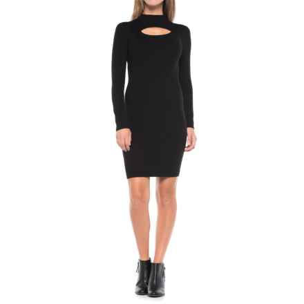 Carmen Marc Valvo Center Keyhole Sweater Dress - Crew Neck, Long Sleeve (For Women) in Black - Closeouts