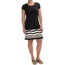 Carmen Marc Valvo Stripe Hem Dress - Short Sleeve (For Women) in Black/White - Overstock