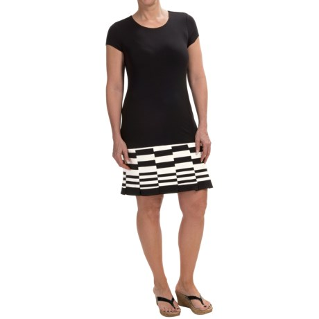 Carmen Marc Valvo Stripe Hem Dress Short Sleeve (For Women)