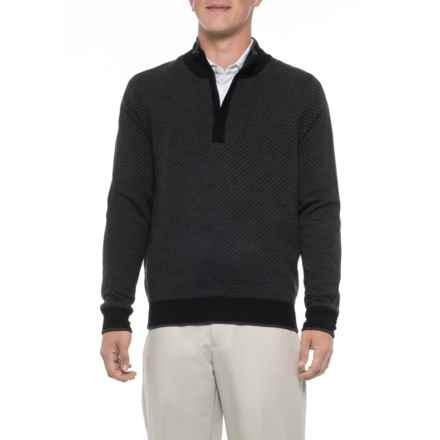 Carnoustie Merino Wool Golf Sweater - Zip Neck (For Men) in Black - Closeouts
