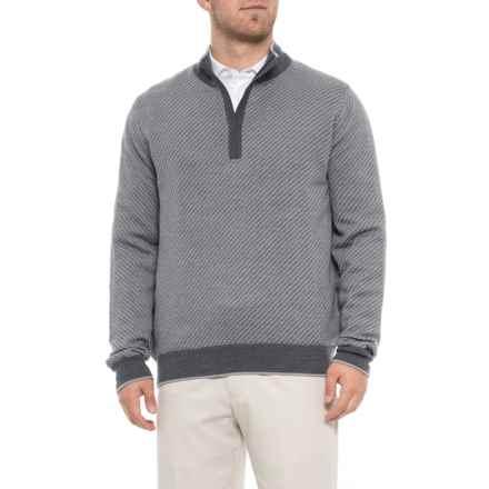 Carnoustie Merino Wool Golf Sweater - Zip Neck (For Men) in Grey - Closeouts