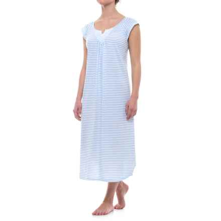 Carole Hochman Ballet Stripe Nightgown - Short Sleeve (For Women) in Light Blue Stripe - Closeouts