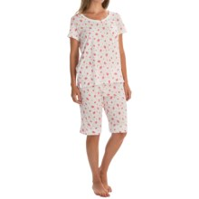 Carole Hochman Bermuda Pajamas - Short Sleeve (For Women) in Strawberries - Overstock