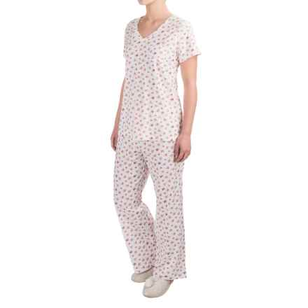 Carole Hochman Cotton Jersey Pajamas - Short Sleeve (For Women) in Tropic Dittsy White - Closeouts